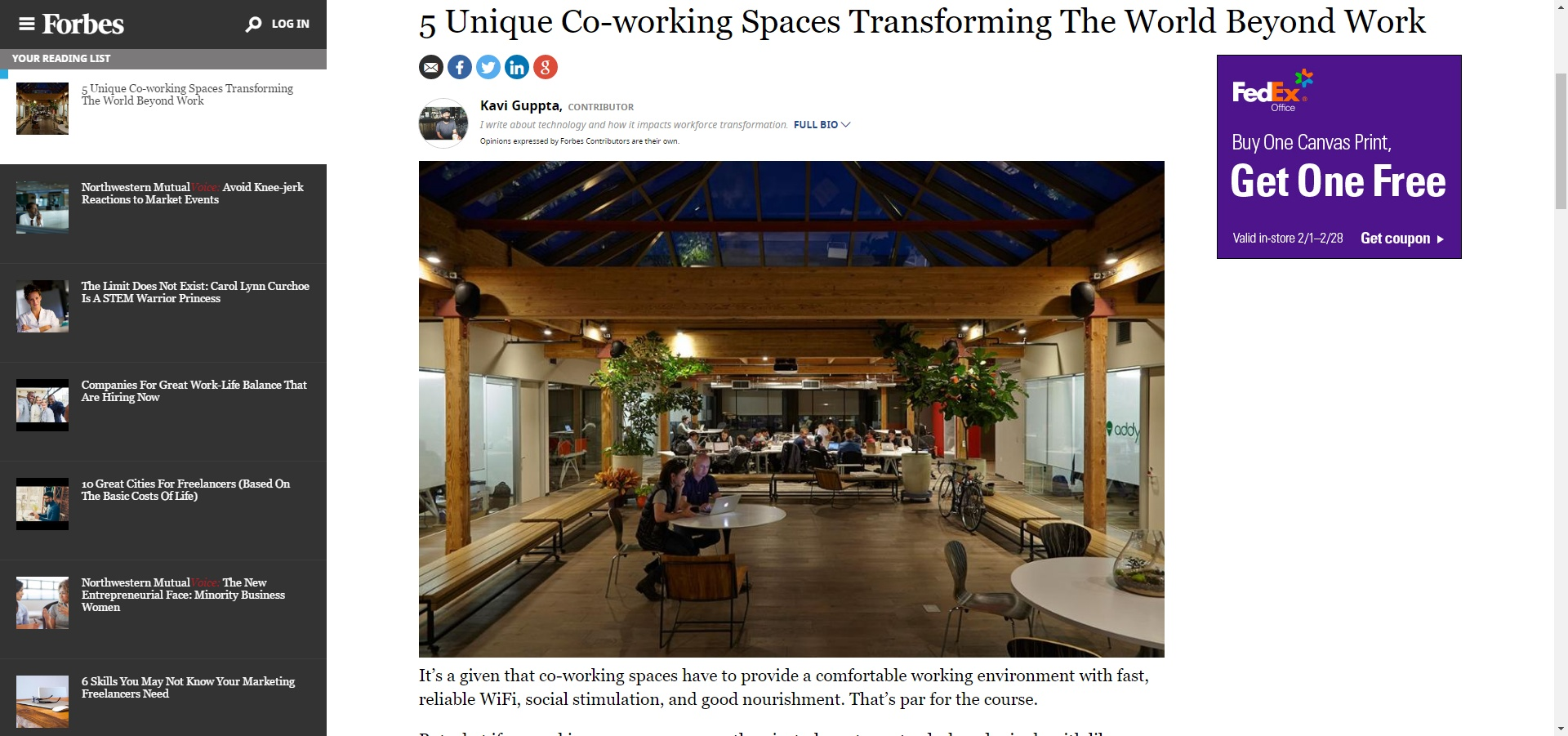 Forbes Covers Niche Coworking